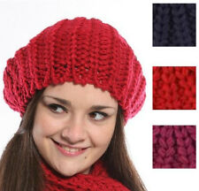 LADIES WOMENS GIRLS BEANIE CHUNKY KNIT BERET WINTER SKI SKIING KNITTED HAT A400