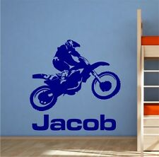 MOTO CROSS RIDER + FREE NAME  WALL STICKER - VINYL DECAL - 2 SIZES - 17 COLOURS