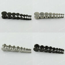 Fashion Black/Silver Mens Barbell Punk Gothic Stainless Steel Ear Studs Earrings