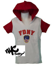 FDNY Kids Hooded Short Sleeve Screen Print T-Shirt Red Youth Tee Boys Girls New