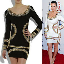 Wholesale long sleeve beaded BodyCon Bandage Sexy Party Evening Cocktail Dress