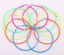 5 Pairs Fashion Candy Color Metal Hoop Charm Basketball Wives Earrings