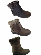 Ladies Snow Boot Walking Fur Lined Winter Warm Ankle Flat Shoe Size