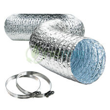 """Non Insulated Aluminum Air Duct 6"""" 8"""" 10"""" 12"""" Inch x 25' Feet Clamps Included"""