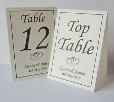 Personalised Wedding Table Number Place Cards Free Standing IVORY Top