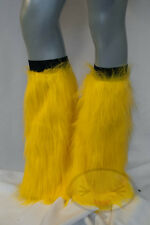 Yellow Fluffy Legwarmers Rave Wear Accessories
