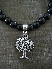 Silver Tree Of Life Charm on Beaded Bracelet  (Pick your Bead Colour)