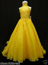 C2 NEW GIRL GLITZ PAGEANT FLOWER GIRL FORMAL PARTY LONG DRESS SIZE 7 - 14 YELLOW