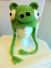 Hand Crochet Angry Bird Green Pig Hat Beanie Made to Order NEW!