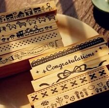 Korea Wood Mounted Rubber Stamp Border+ Free Ink Pad - dot Flower Lace Bowtie