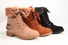 Winter Military Zipper Shearling Lace Up Knee High Mid Calf  Boot Women's Shoes