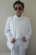 KC1 NEW WHITE  BOY TUXEDO RING BEARER WEDDING COMMUNION FORMAL SUIT ALL SIZE