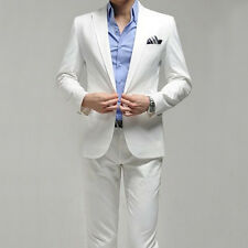 Men's Whites Fashion Dress Casual Business One Botton Slim fit Complete Suits