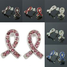 Mix Crystal Rhinestone Ribbon Stud Earrings HIV AIDS ALS Breast Cancer Awareness