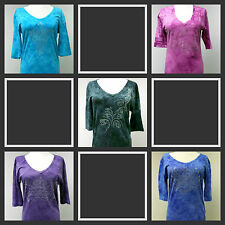New Sledge Womens Tie Dye Shirt Rhinestones YOU PICK THE COLOR & SIZE