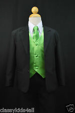 C2 BOY Formal Party Black Tuxedo Suit Green Vest & Tie 1 2 3 4 5 6 7 8 10 12 14