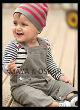 Baby Toddler Boy 3 piece Outfit Top Vest Long Sleeve Dungarees Trousers Hat Set
