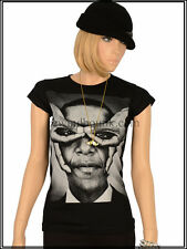 T-Shirt Femme Noir Lectro Barack Obama President Usa I Love New York Dispo S-M