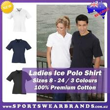 Ladies Ice Polo Shirt Top 100% Cotton White Black Navy Casual Sports Size 8-24