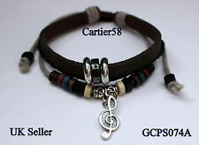 Leather Adjustable Bracelet with Tibetan Silver/Antique Bronze Music Note Charm