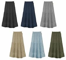 BABYO Girl's Ankle Length Long Denim 5 Tiered Skirt