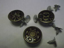 10 x Antique Bronze 17mm Jean Tack Metal Studs / Buttons with Pins for Jeans