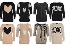 WOMENS PLUS SIZE ZEBRA MULTI HEART XOXO PRINT KNIT JUMPER DRESS TOPS 16-26