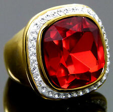 VoE Boutique Red White Austrian Crystal Elements 18k Yellow Gold  IP Ring