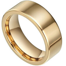 Golden 8mm Smoothy Tungsten Carbide Flat Mirror Polished Luxury Mens Band Ring
