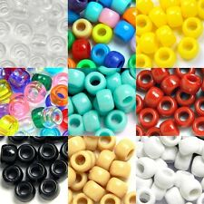 Lot of 100 9mm x 6mm Plastic Acrylic Pony Crow Beads With Large 4mm Hole