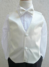 NEW IVORY VEST WITH BOW TIE SET FOR BOY & TODDLER FORMAL TUXEDO SUIT ALL SIZE