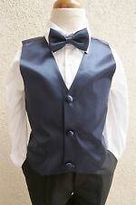 NEW NAVY BLUE  VEST WITH BOW TIE SET FOR BOY & TODDLER FORMAL TUXEDO SUIT