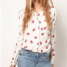 Sexy Women Collared Chiffon Long Sleeve Kiss Printed Button Down OL Shirt Blouse