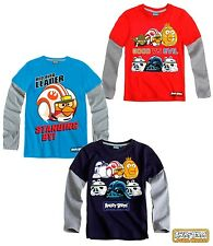 New Boys Angry Birds Long Sleeve Angry Bird Star Wars Top T-Shirt Age 3-12 Years