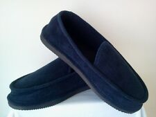 NAVY BLUE CORDUROY HOUSE SHOES LOOX SLIPPERS NEW SIZE 8 9 10 11 12 13