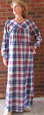 "Nightgown Long Flannel Plaid S – 3XL Cotton ""Made in USA"" Fabulous!!"