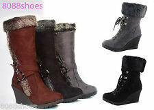 Women's Fur Cuff Wedge Round Toe Mid Calf  Lace Up Boot  Shoes NEW Black Grey