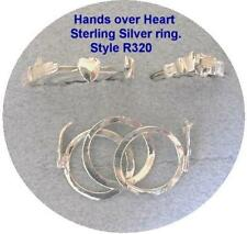 "STERLING SILVER RING-3 PIECE  ""HANDS OVER HEART""  ""FEDE GIMMEL""  (Style R320-SS)"