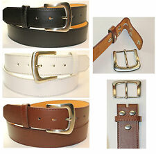 Black Brown Leather Removable buckle Snap On  No Buckle belt S M L XL long sizes