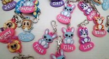 NEW GIRLS CUTE & PRETTY PERSONALISED ZIP PULLS VARIOUS NAMES COLOURS ANIMALS