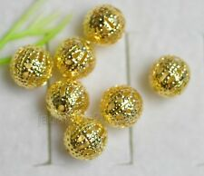500pcs 1000pcs Gold Plated Hollow Loose Spacer Beads findings Charms 8mm