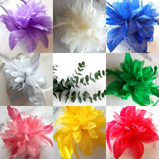 Flower & Feather Hair Comb  Fascinator Wedding Races Prom Bridal   New