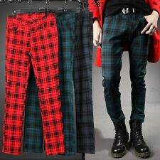BytheR Men's Punk Rock London Stylish Slim Checkered Pants 5ASELFAA0012868