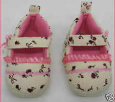 Baby Girls Shoes Cream Velvet pink Floral First Shoes 0 - 12 months christening