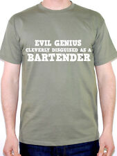 EVIL GENIUS CLEVERLY DISGUISED AS A BARTENDER - Pub / Drink Themed Mens T-Shirt