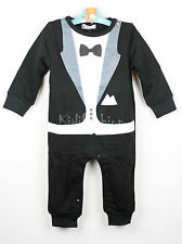Baby Boy Tuxedo Gentleman Bow Romper Outfit Suit Wedding Birthday Party 0-18 m