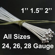 925 Sterling Silver Ball End Head Pins Findings (All Sizes) Bulk Lots Wholesale