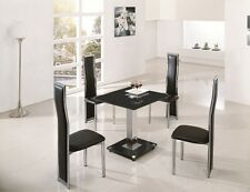 LODI SQUARE GLASS CHROME DINING ROOM TABLE & 2 CHAIRS SET- FURNITURE - IJ601-899