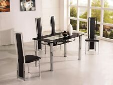ROVIGO SMALL GLASS CHROME DINING ROOM TABLE AND 4 CHAIRS SET -105 cm- IJ601-818S