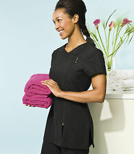 PREMIER 'CAMELLIA' BEAUTY & SPA TUNIC (PR686) - BLACK - SIZES 8-24
